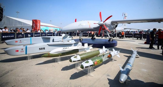 Baykar Makina's latest twin-engine armed drone Akıncı on display at Turkey's largest aerospace and tech festival, TEKNOFEST Istanbul, Sept. 18, 2019.