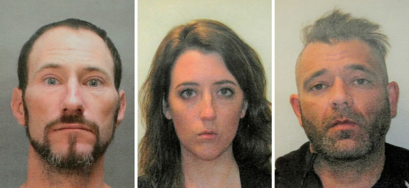 This November 2018 file combination of photos provided by the Burlington County Prosecutors office shows Johnny Bobbitt, left, Katelyn McClure and Mark D'Amico. (AP Photo)