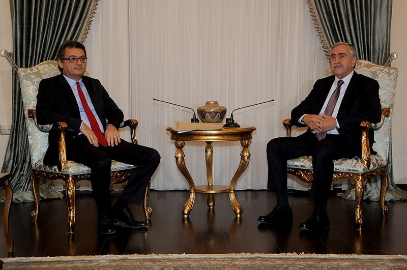 TRNC President Mustafa Aku0131ncu0131 (R) and newly-appointed Prime Minister Tufan Erhu00fcrman. (Turkish Agency Cyprus via AA)