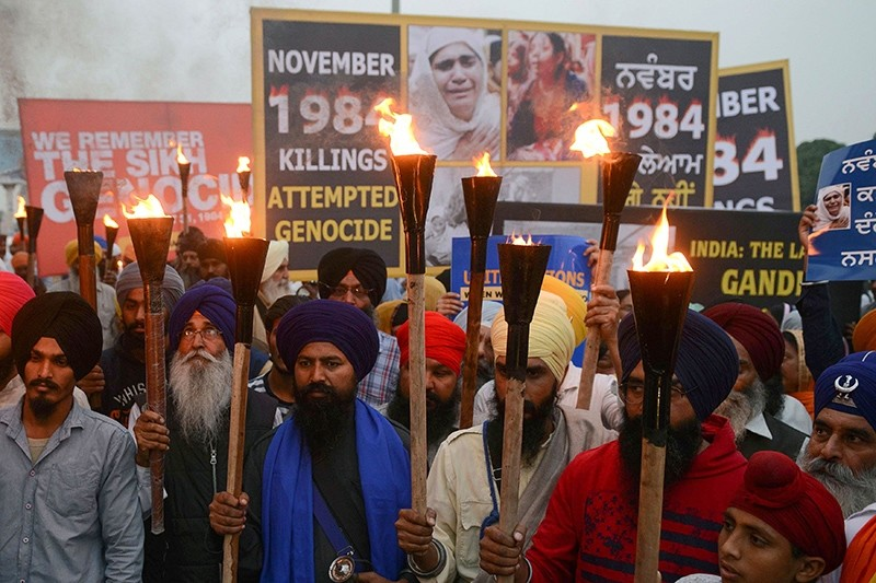 In this file photo taken on Nov. 3, 2018, Indian activists of the Dal Khalsa radical Sikh organization march at a protest to commemorate the 1984 anti-Sikh riots in Amritsar. (AFP Photo)