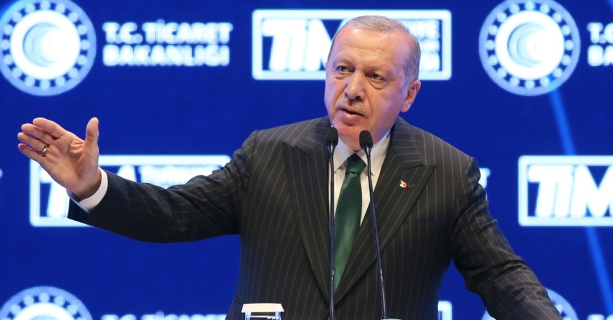 President Recep Tayyip Erdou011fan speaks at Turkey Innovation Week, organized by the Turkish Exporters' Assembly (Tu0130M), Istanbul, May 3, 2019.