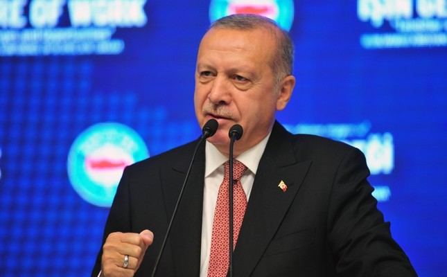 President Recep Tayyip Erdoğan speaks at the international labor conference organized by the Confederation of Public Servants Trade Unions (Memur-Sen), Ankara, April 18, 2019.