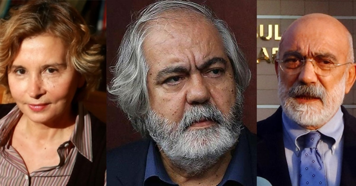 Journalists Nazlu0131 Ilu0131cak (L), Ahmet Altan (R) and academic Mehmet Altan (C)