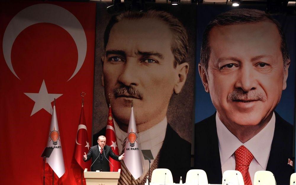 President Recep Tayyip Erdou011fan speaks during the AK Party provincial heads meeting, Ankara, Nov. 17.