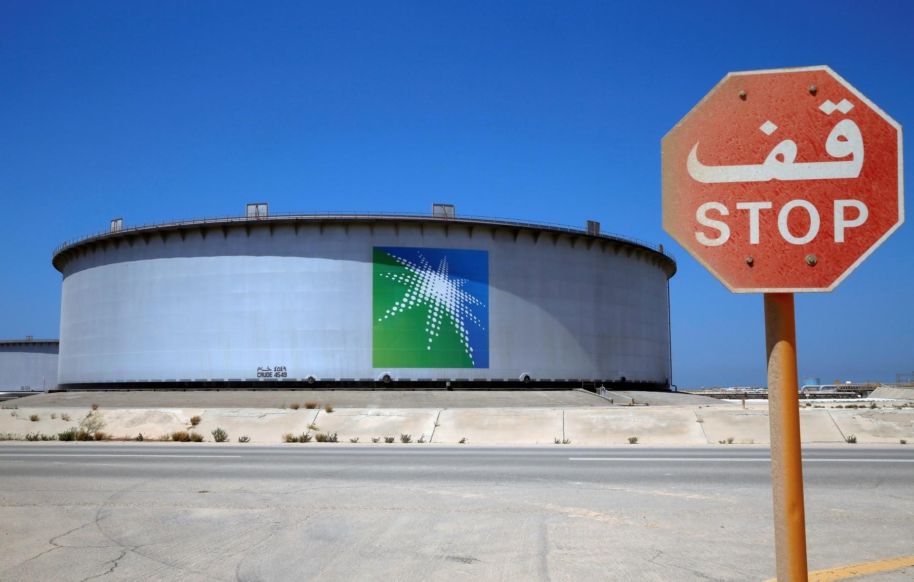 An Aramco tank is seen at Saudi Aramcou2019s Ras Tanura oil refinery and oil terminal in Saudi Arabia.