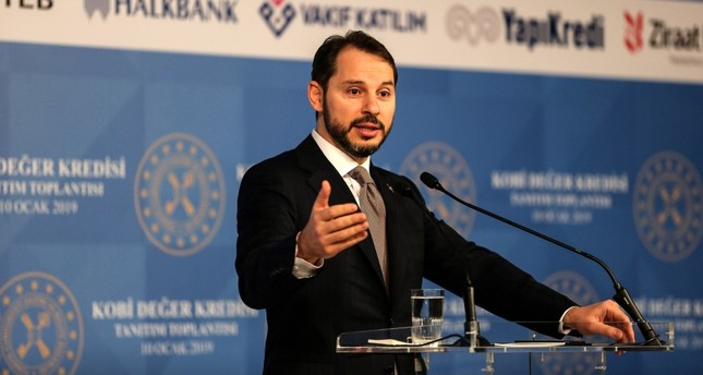 This file photo shows Treasury and Finance Minister Berat Albayrak speaking at an event to introduce a new plan fro SME loans in Istanbul, Jan. 11, 2019. (DHA Photo)