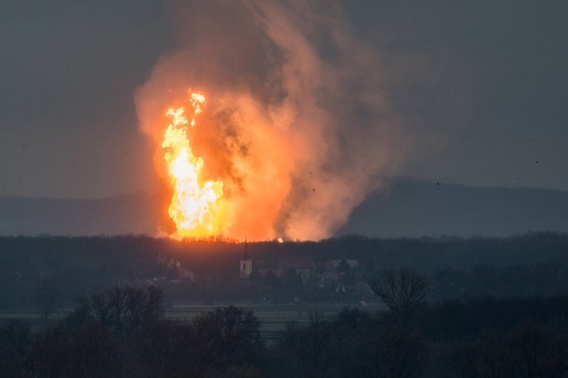 In this picture obtained from social media, a column of fire is seen after an explosion ripped through Austria's main gas pipeline hub in Baumgarten, Austria, Dec. 12, 2017. (Tomas Hulik via Reuters)