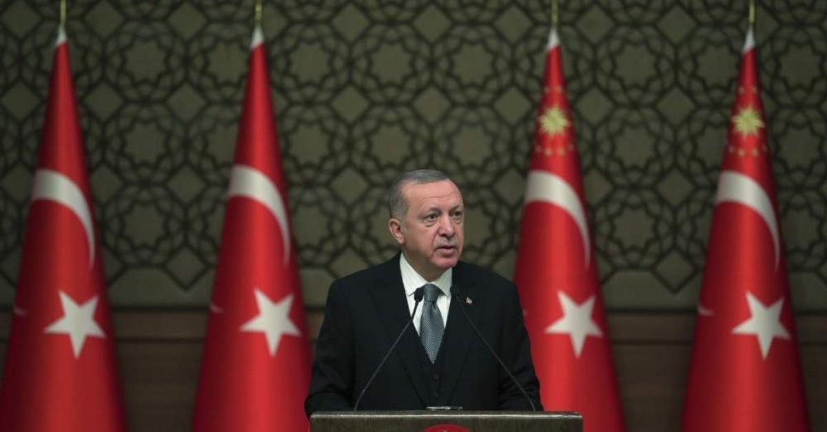 President Recep Tayyip Erdo?an delivers a speech at an event in Ankara, Turkey, Thursday, Jan. 2, 2020. (AP Photo)