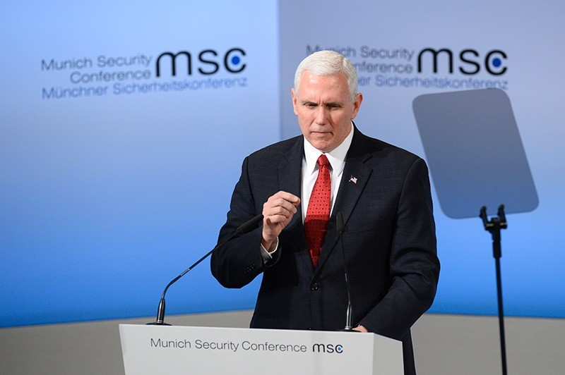 U.S. Vice President Michael Richard Pence delivers a speech on the 2nd day of the 53rd Munich Security Conference (MCS) in Munich, southern Germany, on Feb. 18, 2017. (AFP Photo)