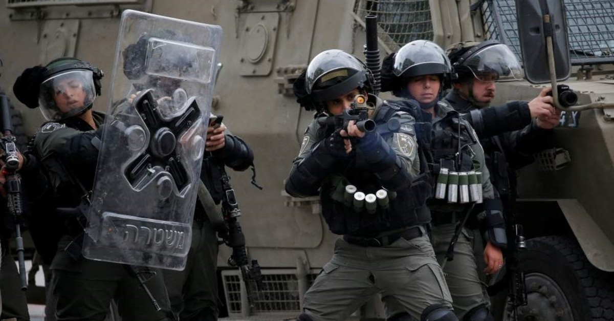Israeli border police during protests in Hebron in the Israeli-occupied West Bank, Feb. 2, 2020. (REUTERS Photo)