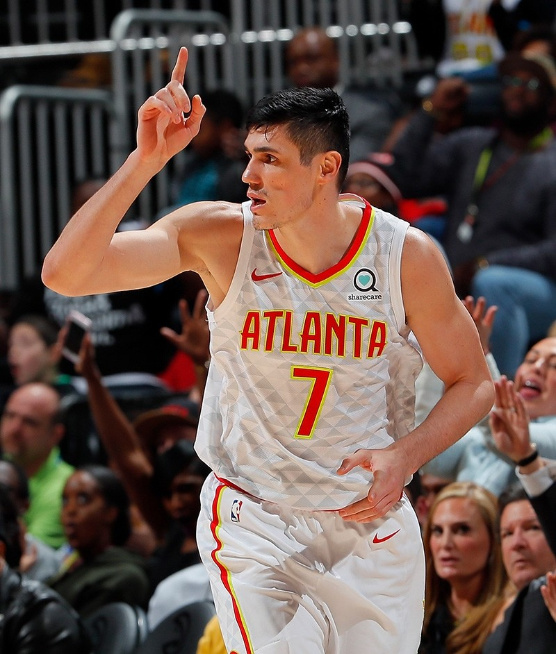 Ersan Ilyasova of the Atlanta Hawks reacts after hitting a three-point basket against the Portland Trail Blazers at Philips Arena on Dec. 30, 2017, in Atlanta, Georgia. (AFP Photo)