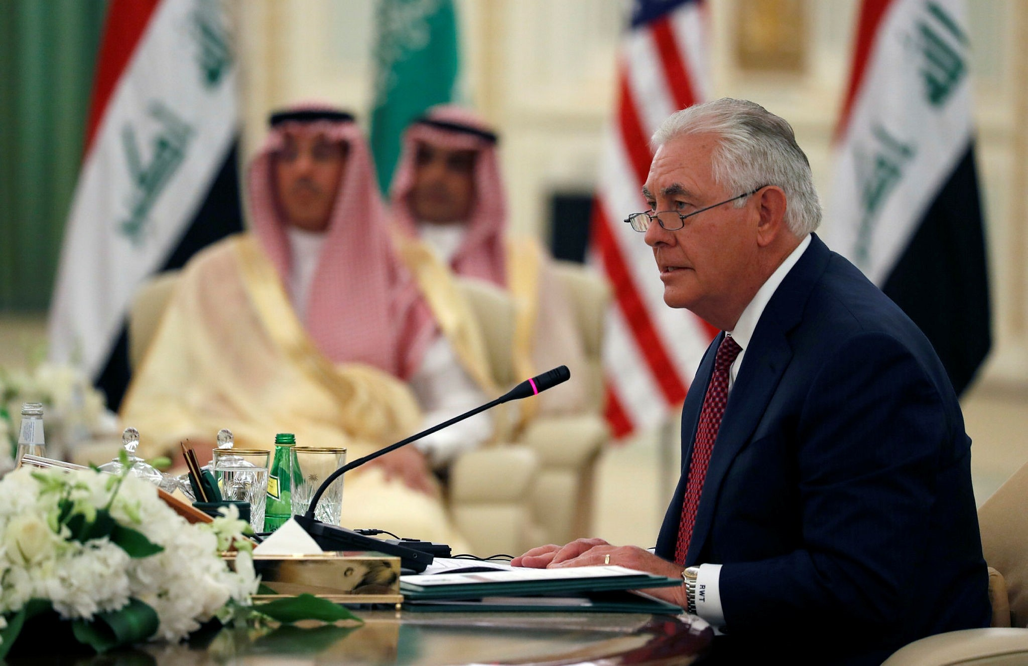 U.S. Secretary of State Rex Tillerson speaks during a meeting of the Saudi-Iraqi Bilateral Coordination Council with Saudi King Salman and Iraqi Prime Minister Haider al-Abadi in Riyadh, Oct. 22.