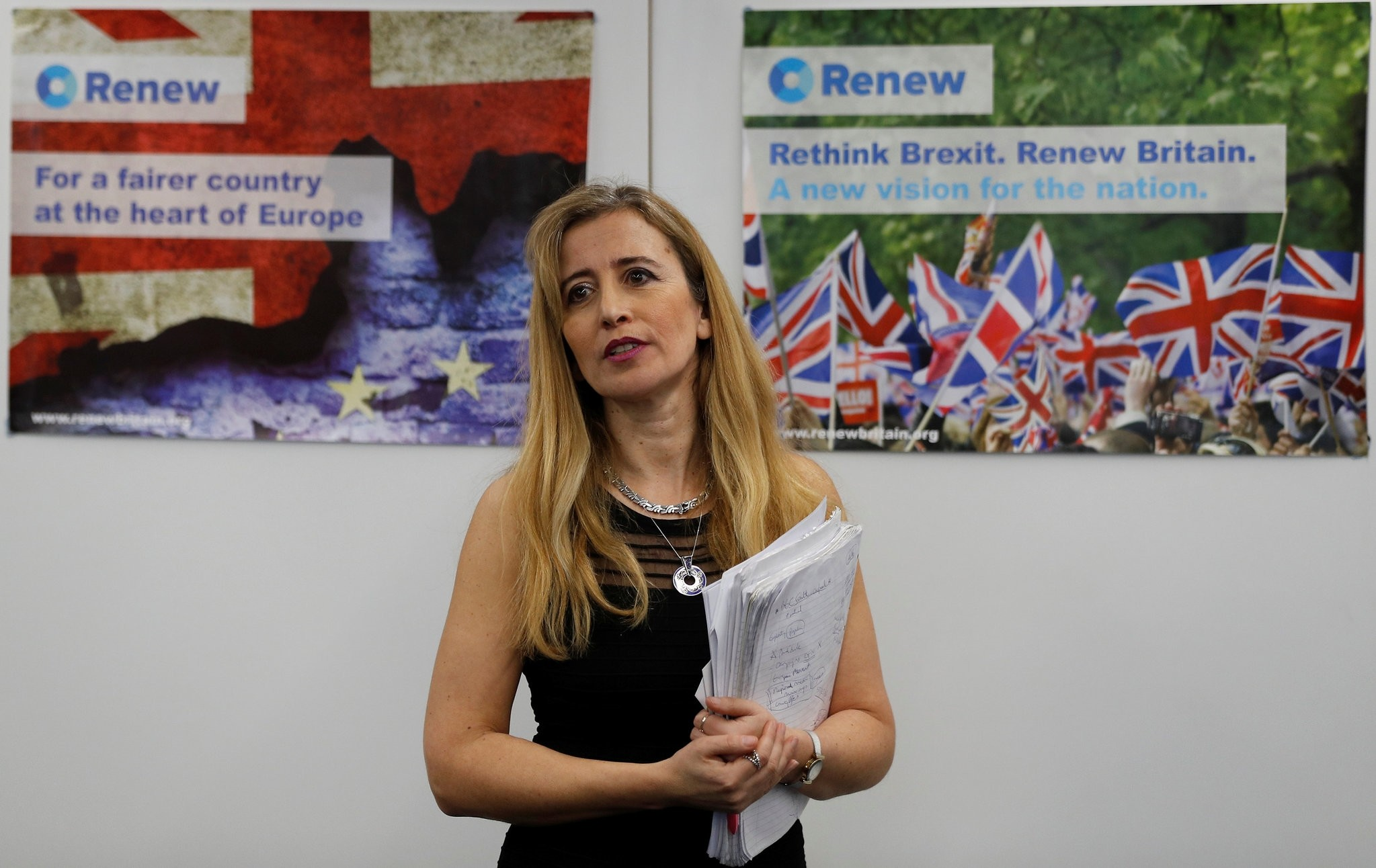 Sandra Khadhouri of Renew poses for a photograph at the launch of the new political party in London, February 19, 2018. (REUTERS Photo)