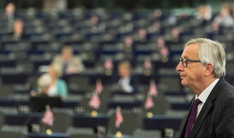 President of the European Commission Jean-Claude Juncker delivers his speech at the European Parliament in Strasbourg, France, 04 July 2017. (EPA Photo)
