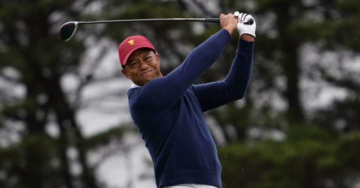 Woods plays a shot during a practice session at the 2019 Presidents Cup golf competition in Melbourne, Dec. 10, 2019. (EPA Photo)