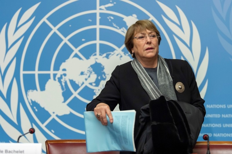 U.N. High Commissioner for Human Rights Chilean Michelle Bachelet, arrives for a press conference about the 70th anniversary of the Universal Declaration of Human Rights in Geneva, Switzerland, Dec. 5, 2018. (AP Photo)