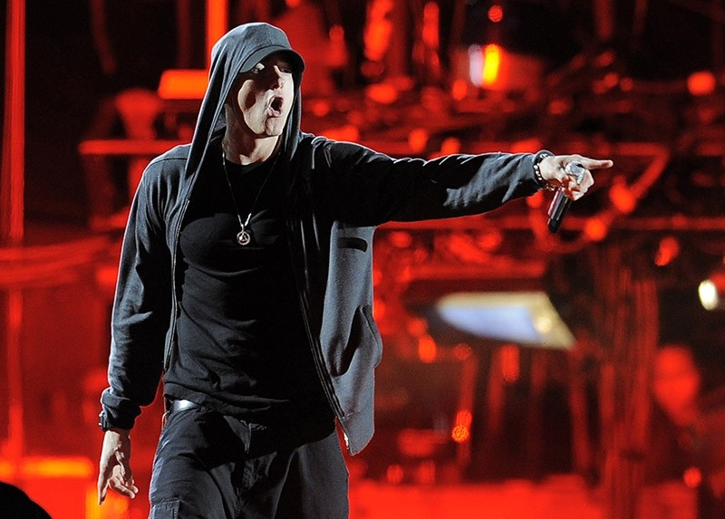 In this April 15, 2012, file photo, Eminem performs at the 2012 Coachella Valley Music and Arts Festival in Indio, Calif. (AP Photo)