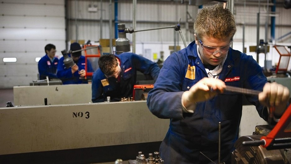 Apprentices work at the BAE Systems site in Warton, Britain. Approximately 750 positions will be cut in Warton, Samlesbury and Lancs.