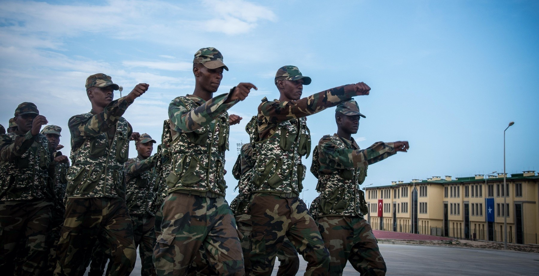 Somali soldiers march during military training.