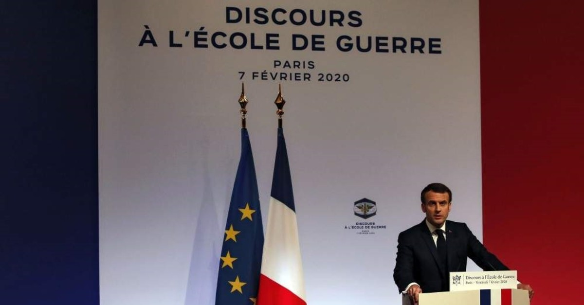 French President Emmanuel Macron delivers a speech at the Ecole Militaire, Paris, Feb. 7, 2020. (AFP Photo)