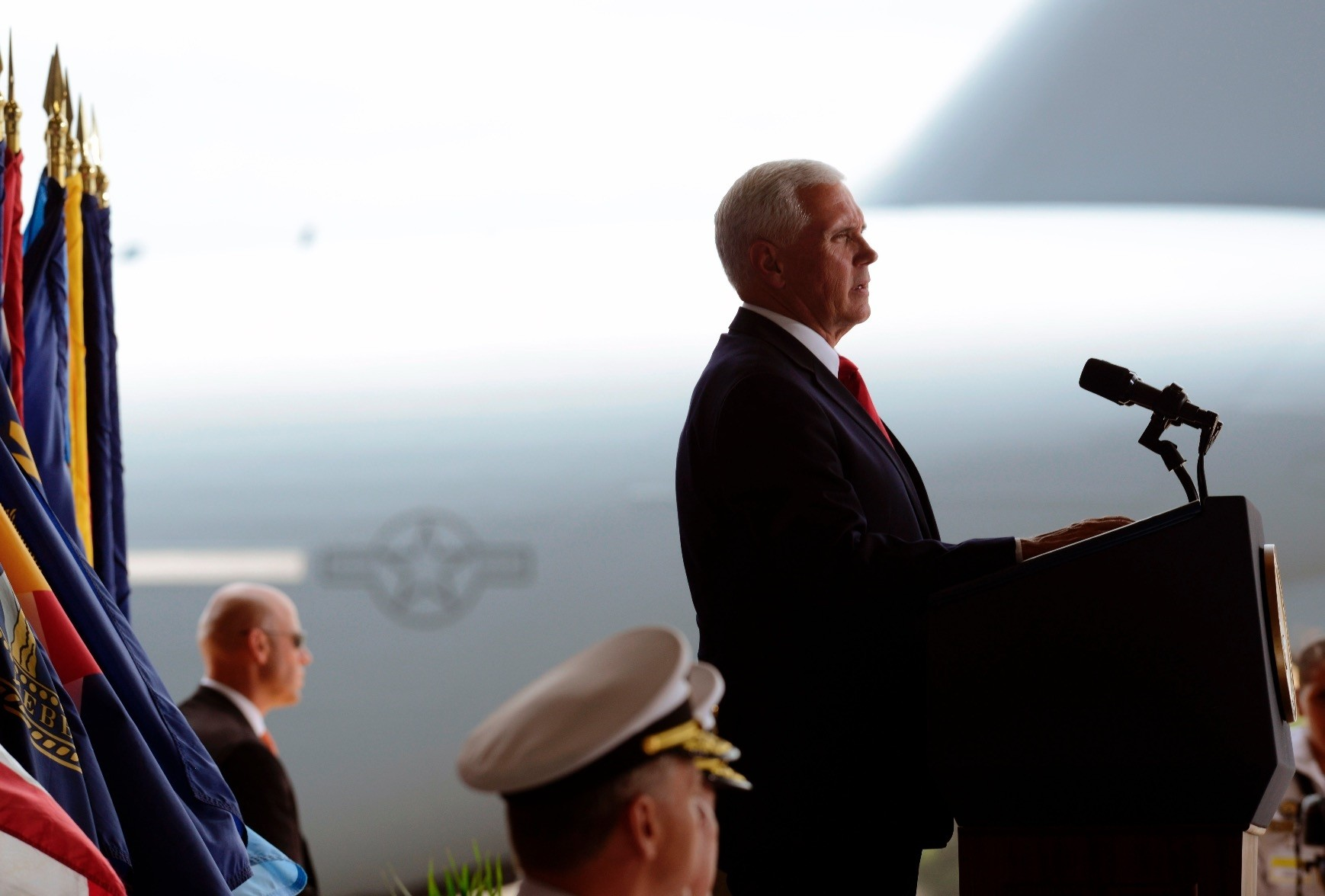 U.S. Vice President Mike Pence speaks in Hawaii during the Honorable Carry Ceremony, for the remains of American soldiers repatriated from North Korea, Aug.1.