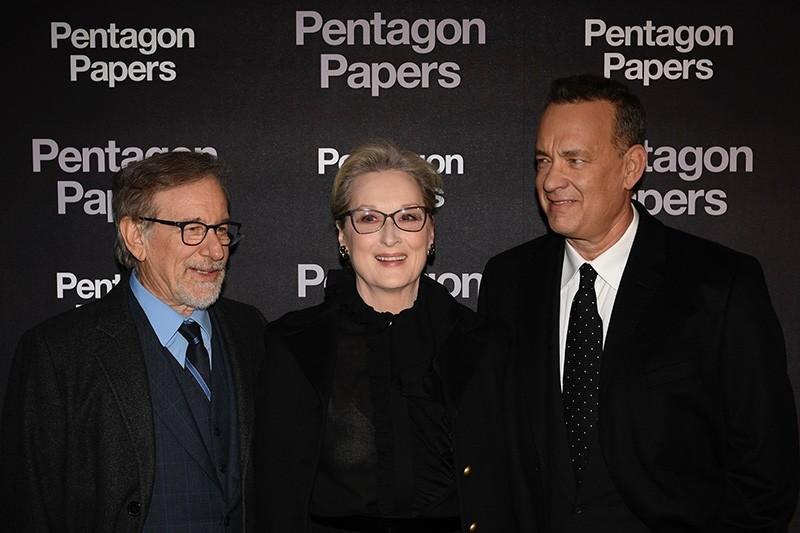 U.S. film director Steven Spielberg, U.S. actress Meryl Streep and U.S. actor Tom Hanks, attend the premier of The Pentagon Papers (The Post) on Jan. 13, 2018 in Paris. (AFP Photo)