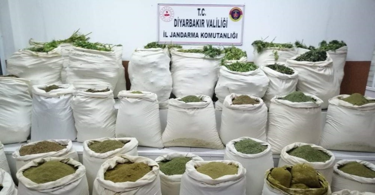 This file photo provided by the provincial gendarmerie command in southeastern Diyarbak?r province shows sacks of powdered marijuana seized by security forces in operations. (AA Photo)