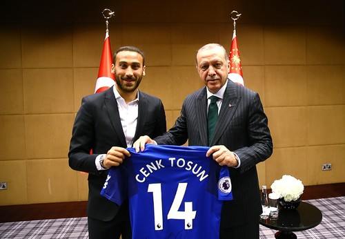 President Erdoğan: meets with Premier League stars Cenk Tosun, Mesut Özil, Ilkay Gündoğan