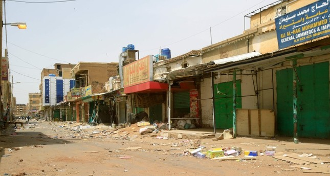 Closed shops at the Omdurman market in Sudanese capital Khartoum's twin city,  June 8, 2019.