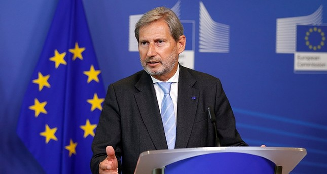 European Neighbourhood Policy and Enlargement Negotiations Commissioner Johannes Hahn speaks during a news conference at the EU Commission headquarters in Brussels, Belgium June 12, 2017. (Reuters Photo)