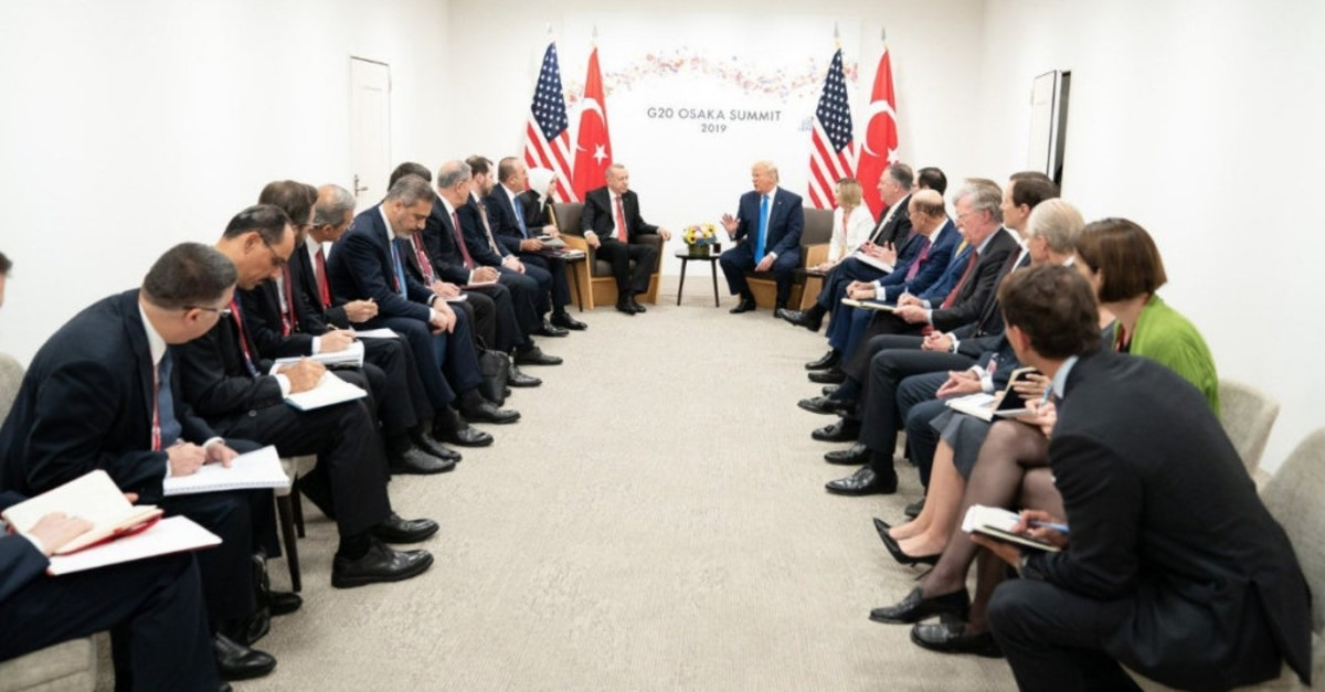 President Recep Tayyip Erdou011fan and U.S. President Donald Trump and their delegations during a meeting on bilateral relations at the G20 summit, Osaka, Japan, June 29, 2019.