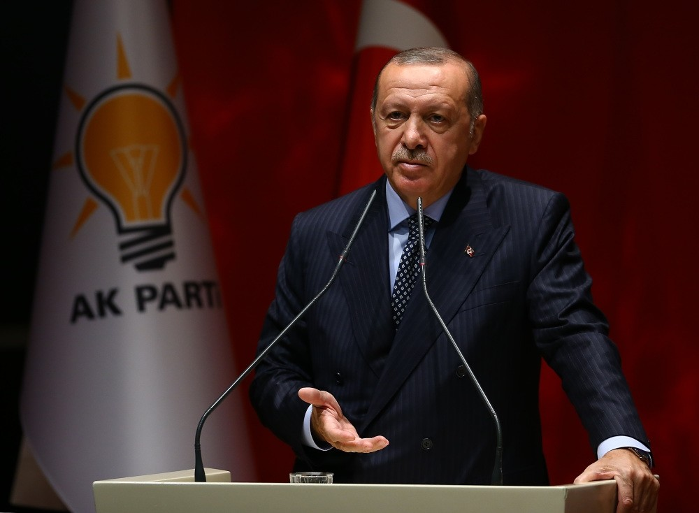 President Recep Tayyip Erdou011fan speaks at the Justice and Development Party (AK Party) provincial leaders meeting in Ankara, Sept. 14.