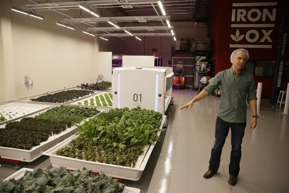 Iron Ox CEO Brandon Alexander gives a tour at his robotic indoor farm in San Carlos, California.