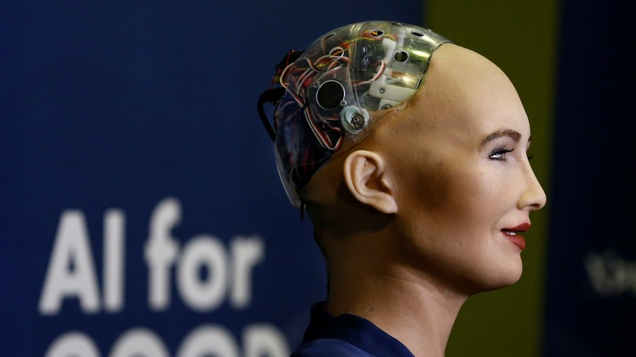 Sophia, the world's first humanoid robot with citizenship, given by Saudi Arabia. (Reuters Photo)