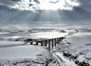 Drone snaps Orient Express' snow-blanketed route