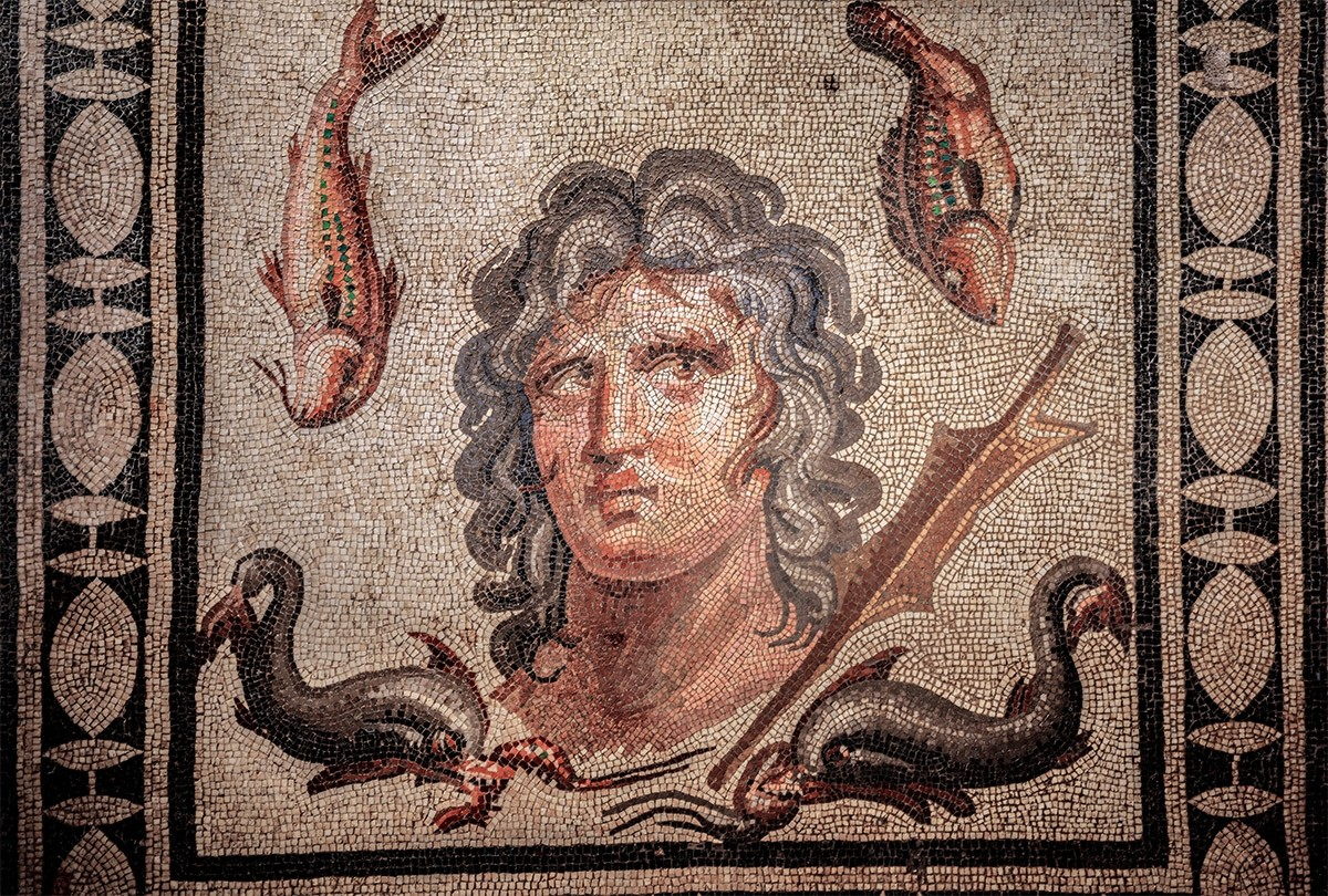 This mosaic shows Oceanus from the Greek mythology. (AA Photo)