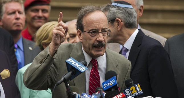 U.S. Representative Eliot Engel (D-NY) speaks during a pro-Israel rally organised by local Jewish communities in front of New York City hall in New York July 14, 2014. (Reuters Photo)