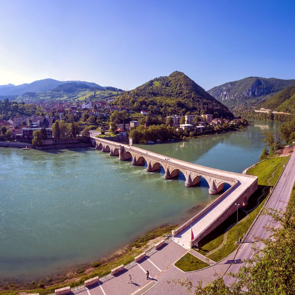 Bosnia comes into prominence, especially with its water sources and forests.