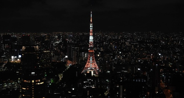 The Tokyo Tower is pictured at night in Tokyo, one of the host cities of the upcoming 2019 Rugby World Cup in Japan, on September 7, 2019. AFP Photo