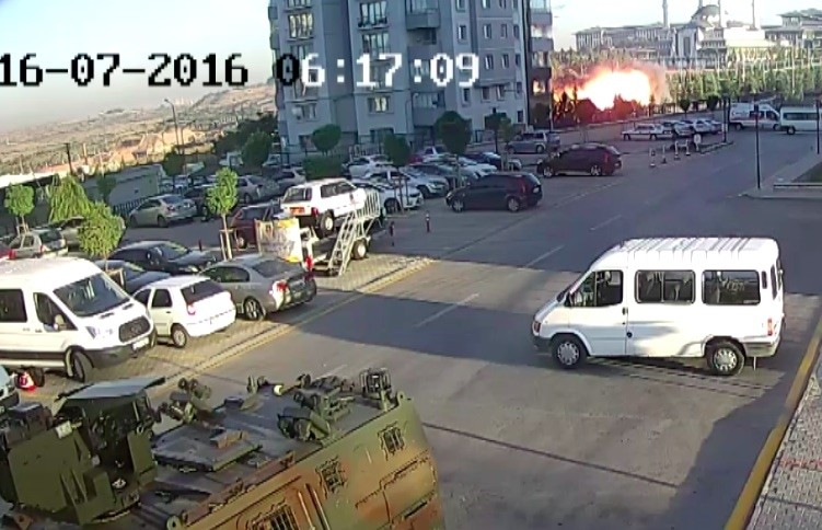 A screenshot of security camera footage shows a fireball rising from a place bombed by putschists in the early hours of July 16, 2016.