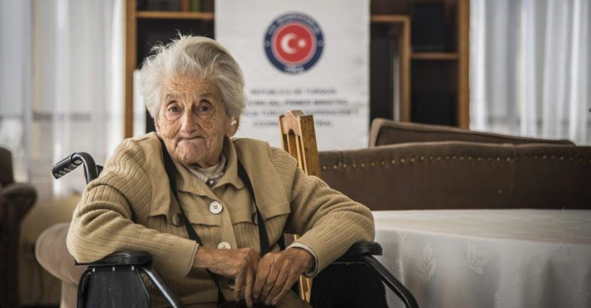 An elderly Turkish woman seen living in one of the Turkish state retirement homes.