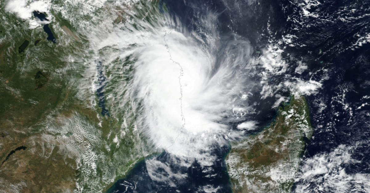 This April 25, 2019 satellite handout image released by NASA shows tropical Cyclone Kenneth approaching the coast of Mozambique. (Reuters Photo)