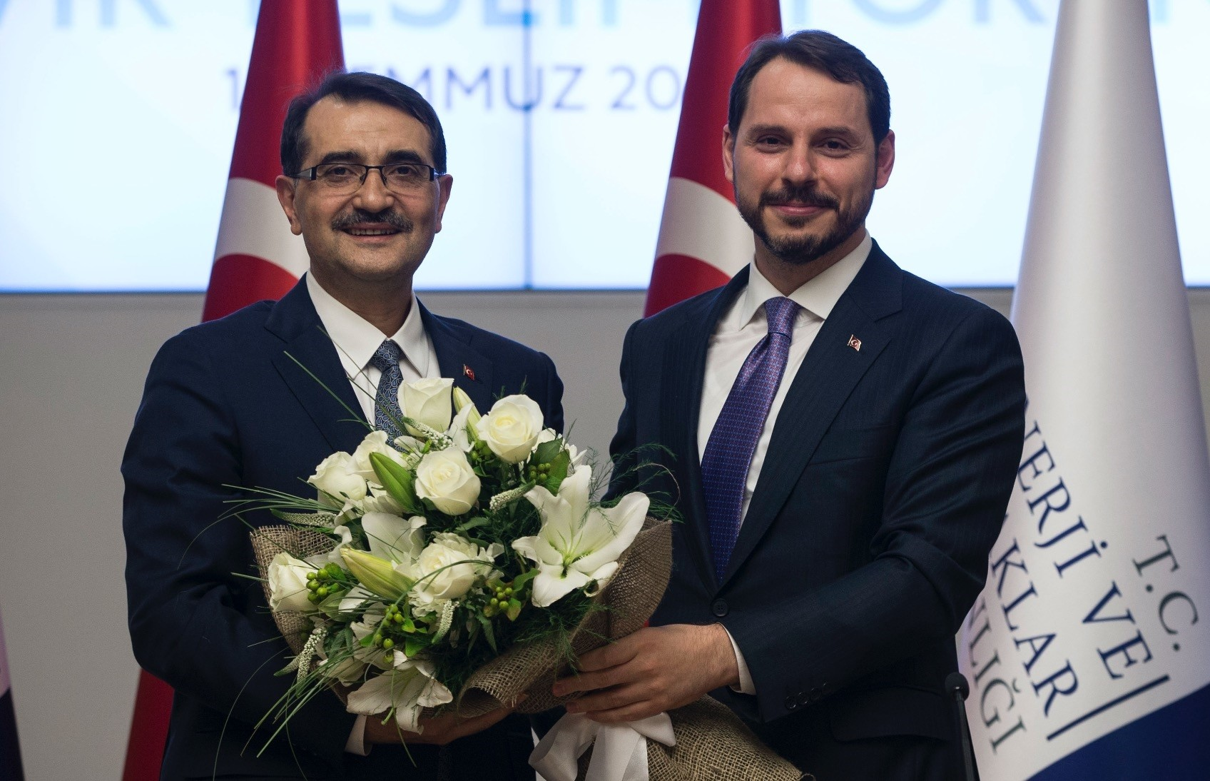 Energy and Natural Resources Minister Fatih Du00f6nmez took over duties from his predecessor and the new Treasury and Finance Minister Berat Albayrak on July 10.