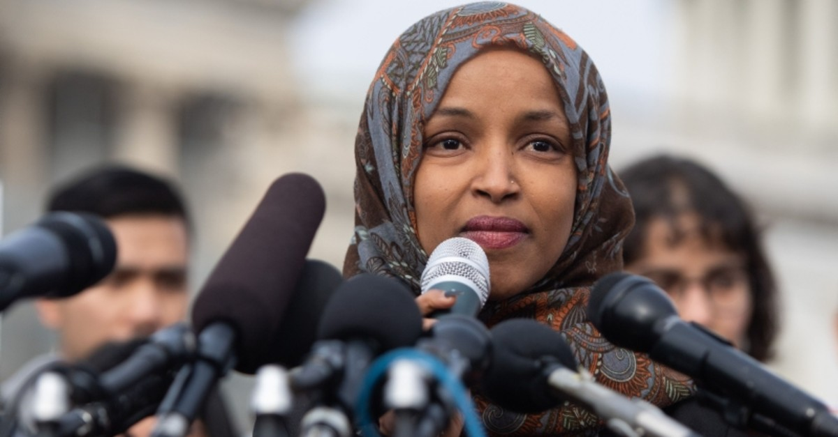 In this file photo taken on February 7, 2019 US Representative Ilhan Omar, Democrat of Minnesota, speaks during a press conference calling on Congress to cut funding for US Immigration and Customs Enforcement (ICE) (AFP File Photo)