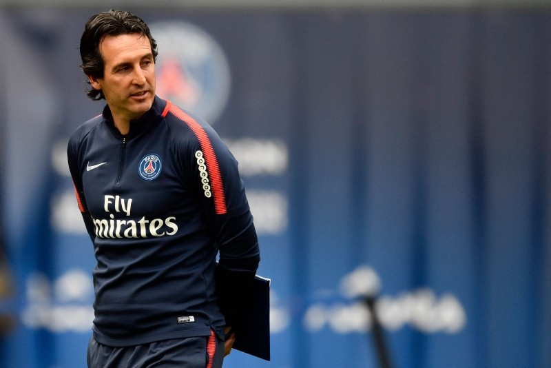 In this file photo taken on May 16, 2018, Paris Saint-Germain's Spanish headcoach Unai Emery attends a training session in Paris at the Parc des Princes. (AFP Photo)