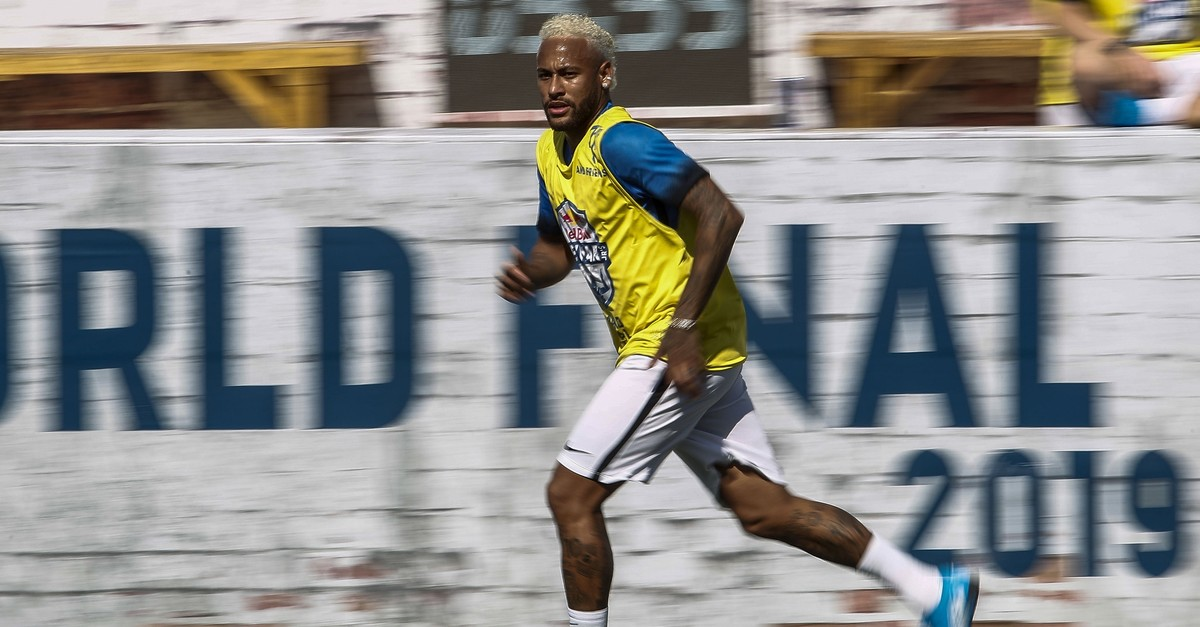 Neymar runs during a five-a-side football tournament for his charity Neymar Junior Project Institute, Sao Paulo, Brazil, July 13, 2019.