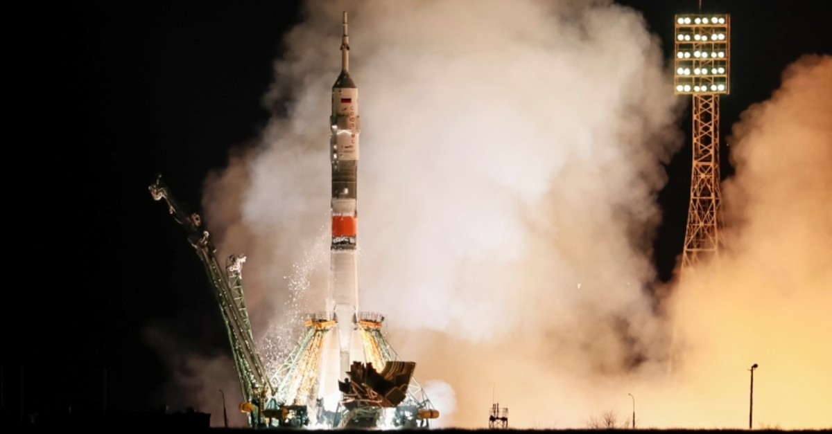 The Soyuz MS-12 spacecraft carrying the crew formed of Aleksey Ovchinin of Russia, Nick Hague and Christina Koch of the U.S. blasts off to the International Space Station (ISS) from the launchpad in Kazakhstan March 15, 2019. (Reuters Photo)
