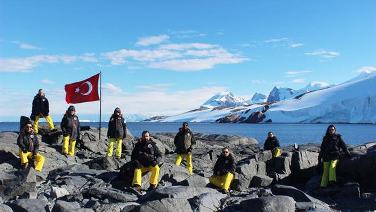 Turkish scientists, who participated to the 2nd National Scientific Expedition, pose in Antarctica last year.