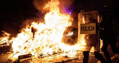 Barcelona burns as clashes continue for 3rd night
