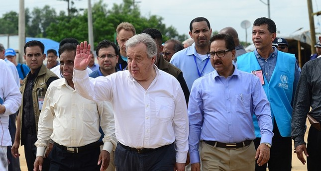 U.N. Secretary General Antonio Guterres (C) arrives at the Kutupalong refugee camp during his visit to the Rohingya community in Bangladesh's southeastern border district of Cox's Bazar on July 2, 2018. (AFP Photo)